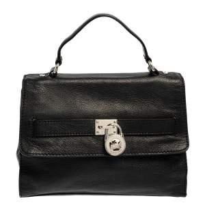 MICHAEL Michael Kors Black Pebbled Leather Padlock Flap Top Handle Bag