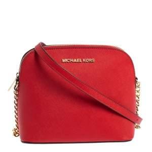 MICHAEL Michael Kors Red Saffiano Leather Medium Cindy Dome Crossbody Bag