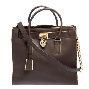 MICHAEL Michael Kors Brown/Gold Leather Large Hamilton North South Tote