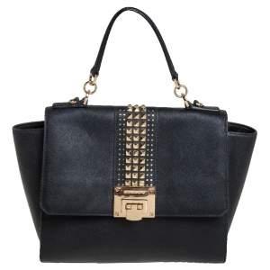 MICHAEL Michael Kors Black Leather Tina Studded Top Handle Bag