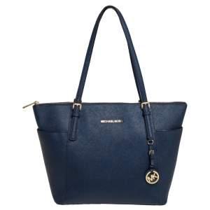 حقيبة يد مايكل كورس جيت سيت متوسطة سحاب علوي جلد أزرق كحلي