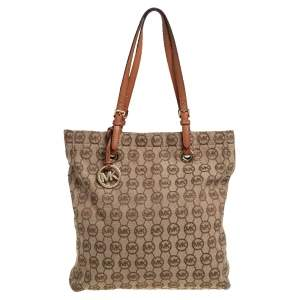 MICHAEL Michael Kors Beige/Brown Signature Canvas and Leather Large Jet Set Tote