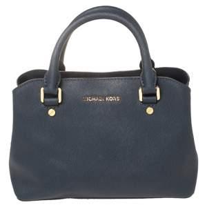 MICHAEL Michael Kors Navy Blue Saffiano Leather Small Idina Satchel