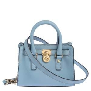 MICHAEL Michael Kors Sky Blue Leather Mini Hamilton Crossbody Bag