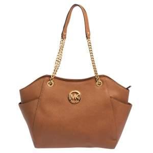MICHAEL Michael Kors Brown Leather Jet Set Chain Shoulder Bag