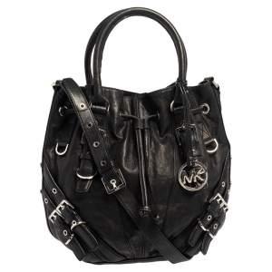 MICHAEL Michael Kors Black Leather Mila Shoulder Bag
