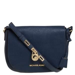 MICHAEL Michael Kors Navy Blue Leather Hamilton Shoulder Bag