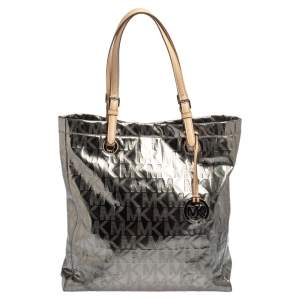 MICHAEL Michael Kors Metallic Silver Mirror Signature PVC and Leather North South Jet Set Tote