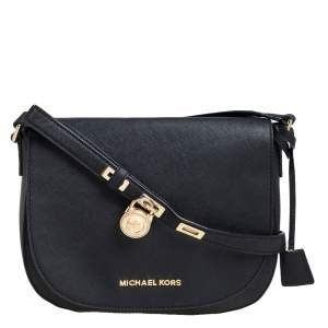 MICHAEL Michael Kors Black Saffiano Leather Hamilton Crossbody Bag
