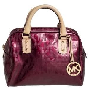 MICHAEL Michael Kors Burgundy Signature Patent Leather Logo Charm Satchel