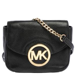 Michael Michael Kors Black Leather Fulton Crossbody Bag