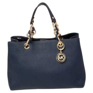 MICHAEL Michael Kors Dark Blue Leather Medium Cynthia Tote