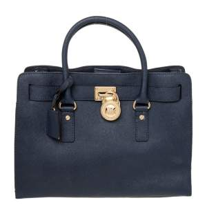 MICHAEL Michael Kors Navy Blue Leather North South Hamilton Tote