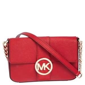 MICHAEL Michael Kors Red Leather Logo Flap Crossbody Bag