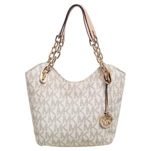 MICHAEL Michael Kors White/Beige Signature Coated Canvas and Leather Lilly Tote
