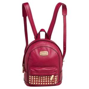 MICHAEL Michael Kors Cherry Red Leather Jet Set Studded Backpack
