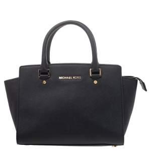 MICHAEL Michael Kors Black Saffiano Leather Medium Selma Satchel