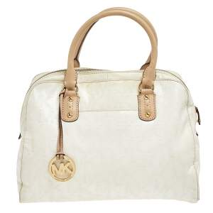 MICHAEL Michael Kors White/Beige Patent Leather Cindy Dome Satchel