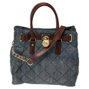 MICHAEL Michael Kors Blue Denim And Leather Hamilton Shoulder Bag
