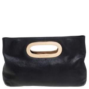 MICHAEL Michael Kors Black Grained Leather Berkley Clutch