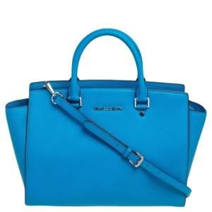 حقيبة يد مايكل مايكل كورس سلما كبيرة جلد سافيانو أزرق