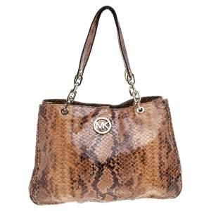 حقيبة يد توتس مايكل مايكل كورس جلد نقشة الثعبان بني
