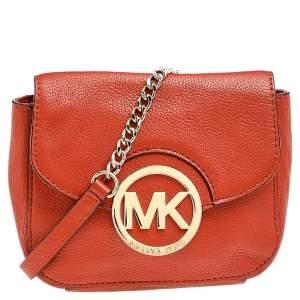 Michael Michael Kors Orange Leather Fulton Crossbody Bag