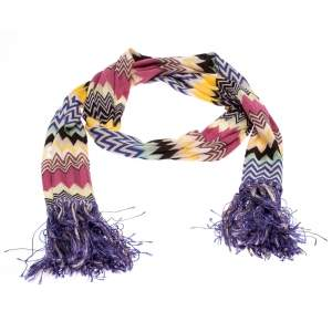 Missoni Multicolor Chevron Knit Fringed Scarf