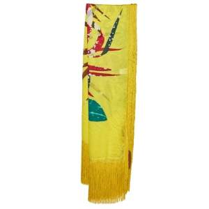Missoni Yellow Printed Silk Tassel Detail Scarf