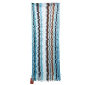 Missoni Blue Zig Zag Knit Fringed Scarf