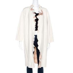 Missoni Off White Silk and Linen Blend Ruffle Detail Contrast Lined Long Coat M