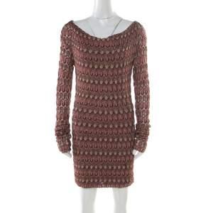 Missoni Burgundy Flame Patterned Knit  Off Shoulder Knit Dress M