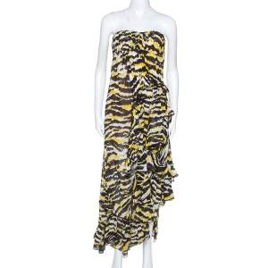 Missoni Multicolor Tiger Print Silk Ruffled Strapless Tansy Dress M