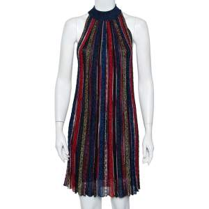 Missoni Multicolor Striped Lurex Knit Flamed Shift Dress S
