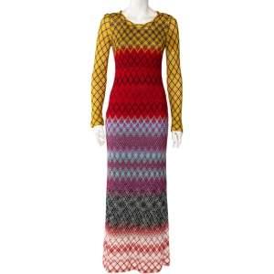 فستان ميزوني ماكسي تريكو لوريكس متعدد الألوان بأكمام طويلة مقاس متوسط - ميديوم