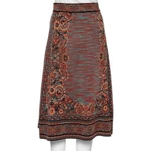 Missoni Multicolored Floral Patterned Knit Midi Skirt S