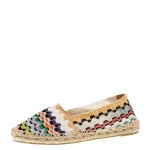 Missoni Multicolor Knit Fabric Espadrilles Flat Size 36