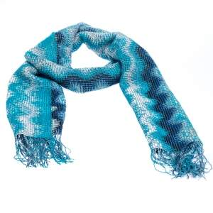 Missoni Blue Chevron Striped Open Knit Fringed Scarf