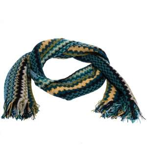 Missoni Multicolor Zig Zag Knit Fringed Wool Blend Scarf