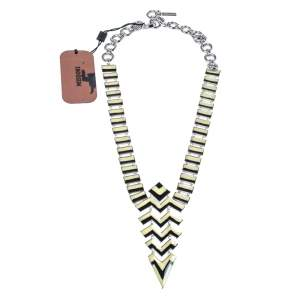 Missoni Enamel Silver Tone Geometric Shaped Long Necklace