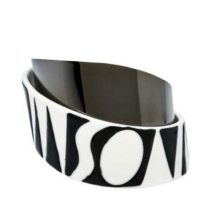 Missoni Monochrome Logo Resin Gunmetal Tone Wide Bangle Bracelet