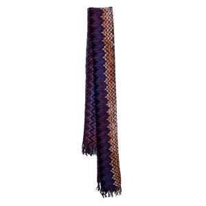 Missoni Multicolor Zig Zag Knit Fringed Scarf