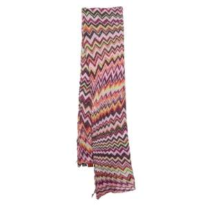 Missoni Foulard Multicolor Chevron Patterned Knit Scarf