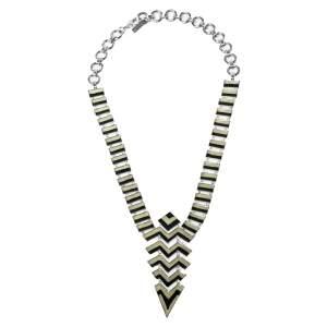 Missoni Enamel Silver Tone Geometric Pattered Necklace