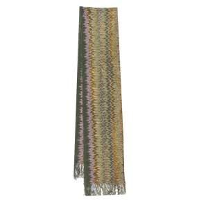 Missoni Sciarpe Green Chevron Patterned Wool Stole