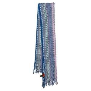 Missoni Blue Zig Zag Cotton Knit Fringed Scarf