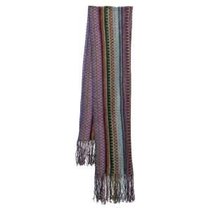 Missoni Multicolor Zig Zag Knit Fringed Scarf