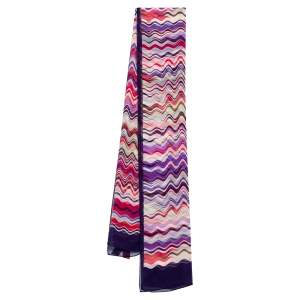 Missoni Multicolor Wave Printed Silk Scarf
