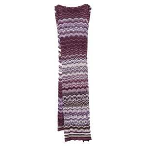 Missoni Purple Chevron Pointelle Knit Stole