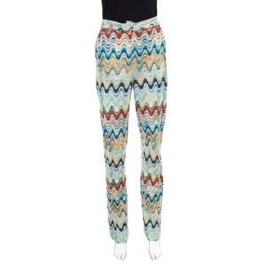Missoni Multicolor Patterned Knit High Waist Flared Bottom Pants S
